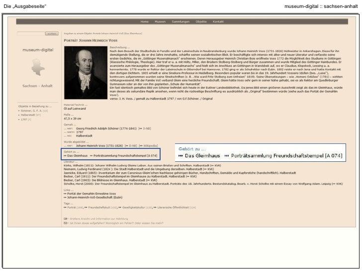 """Die """"Ausgabeseite"""" : Links zu Objekten mit Ähnlichkeiten in personaler, zeitlicher, räumlicher Zuordnung"""
