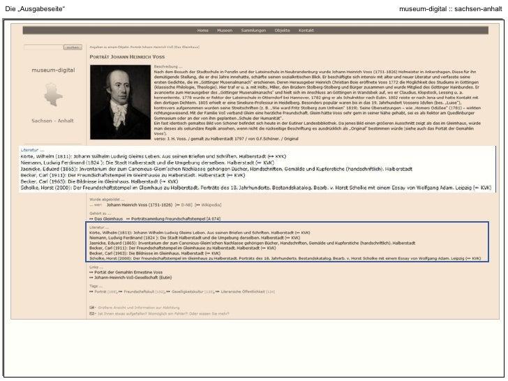 """Die """"Ausgabeseite"""" : Link zur """"Sammlungsseite"""" (Sammlung anzeigen // Sammlung durchsuchen)"""