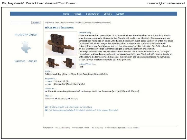 """Die """"Ausgabeseite"""" : Das funktioniert … aber auch mit archäologischen Artefakten"""