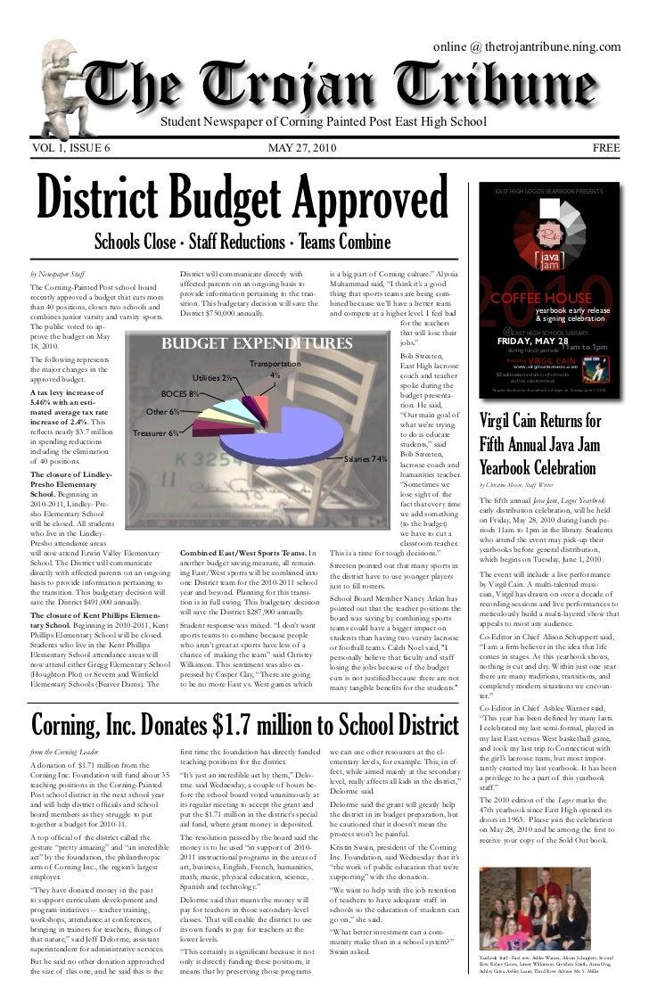 online @ thetrojantribune.ning.com                    The Trojan Tribune         Student Newspaper of Corning Painted Post...