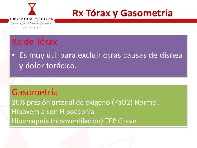 Rx Tórax y Gasometría Rx de Tórax • Es muy útil para excluir otras causas de disnea y dolor torácico. Gasometría 20% presi...