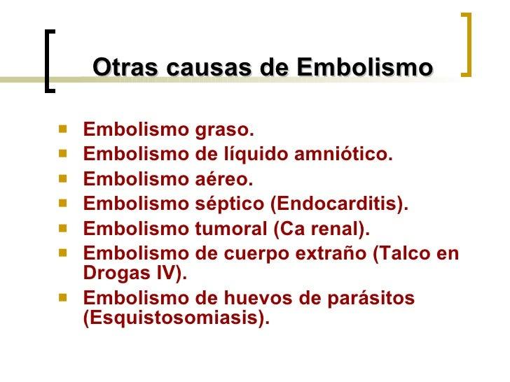 Otras causas de Embolismo <ul><li>Embolismo graso. </li></ul><ul><li>Embolismo de líquido amniótico. </li></ul><ul><li>Emb...