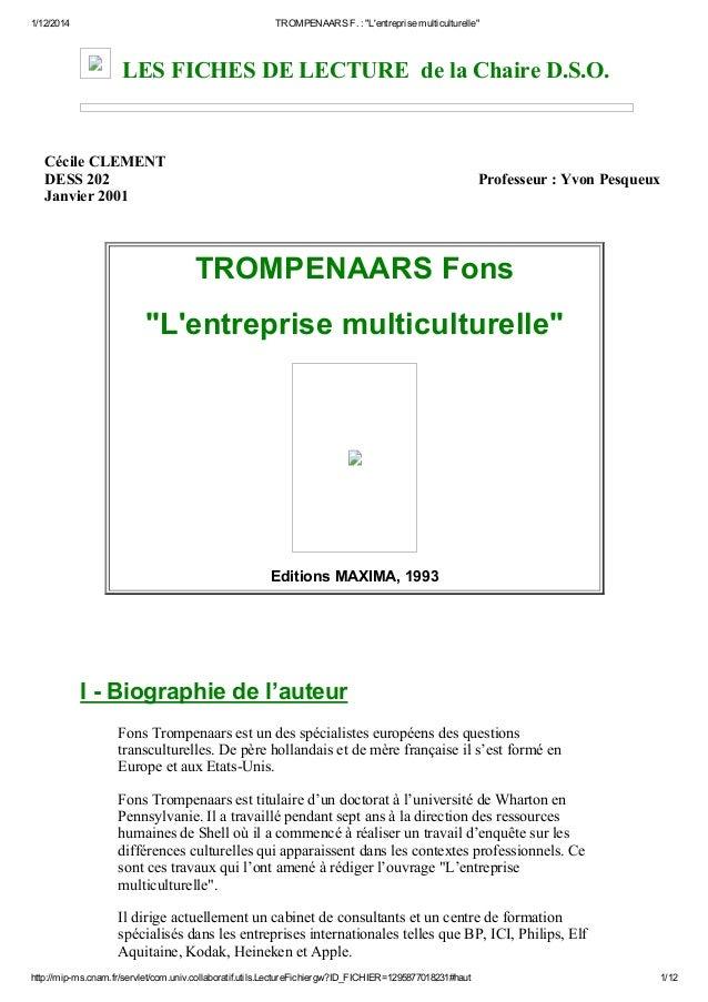 """1/12/2014 TROMPENAARSF.:""""L'entreprisemulticulturelle"""" http://mipms.cnam.fr/servlet/com.univ.collaboratif.utils.Lectur..."""