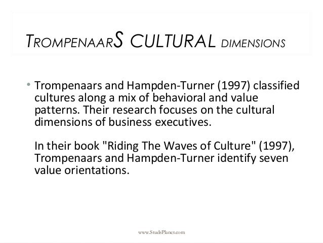 TROMPENAARS CULTURAL DIMENSIONS • Trompenaars and Hampden-Turner (1997) classified cultures along a mix of behavioral and ...