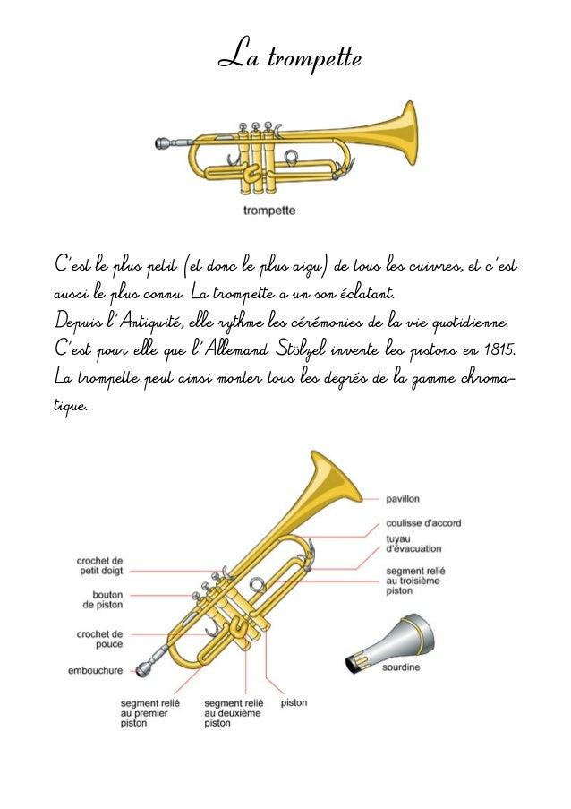 La trompette C'estlepluspetit(etdoncleplusaigu)detouslescuivres,etc'est aussileplusconnu.Latrompettea...