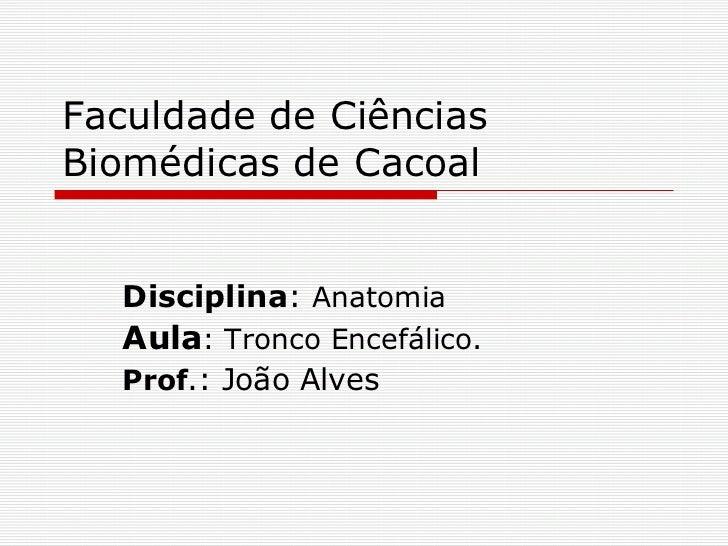 Faculdade de Ciências Biomédicas de Cacoal Disciplina :  Anatomia Aula : Tronco Encefálico. Prof .: João Alves