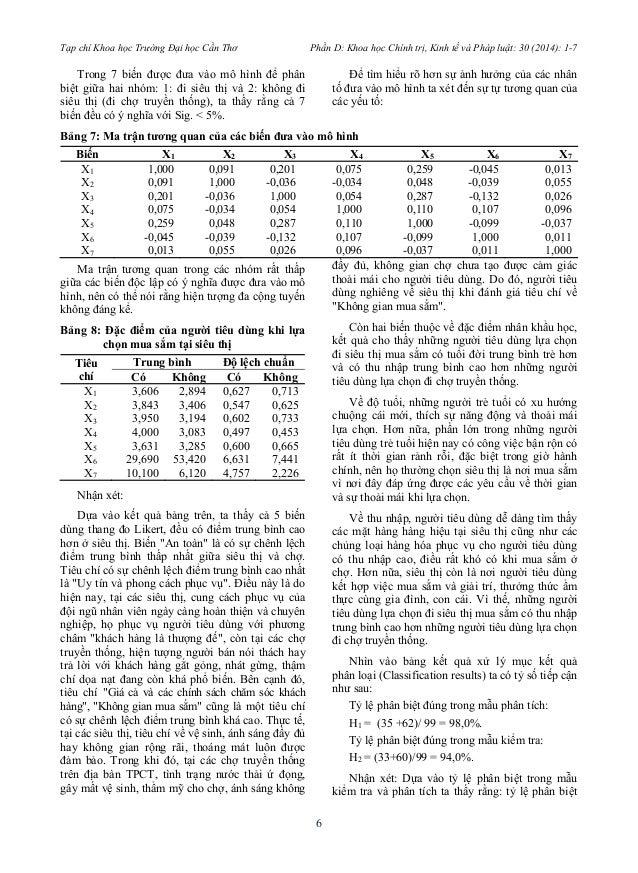 Tạp chí Khoa học Trường Đại học Cần Thơ Phần D: Khoa học Chính trị, Kinh tế và Pháp luật: 30 (2014): 1-7  6  Trong 7 biến ...