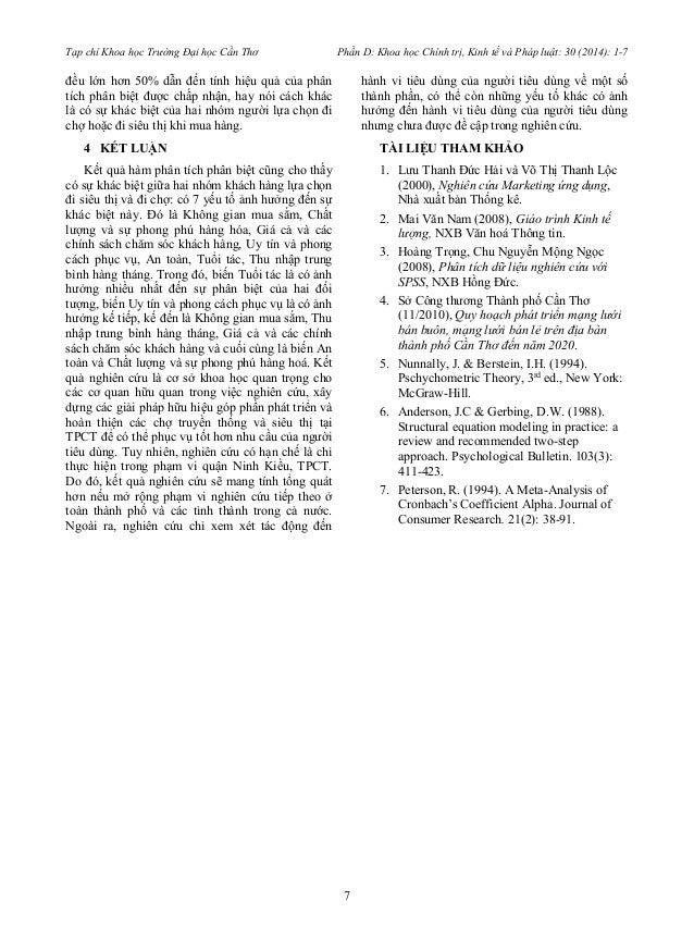 Tạp chí Khoa học Trường Đại học Cần Thơ Phần D: Khoa học Chính trị, Kinh tế và Pháp luật: 30 (2014): 1-7  7  đều lớn hơn 5...