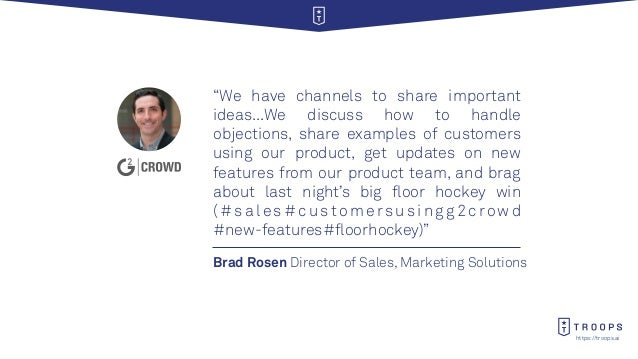 """https://troops.ai Brad Rosen Director of Sales, Marketing Solutions """"We have channels to share important ideas...We discus..."""