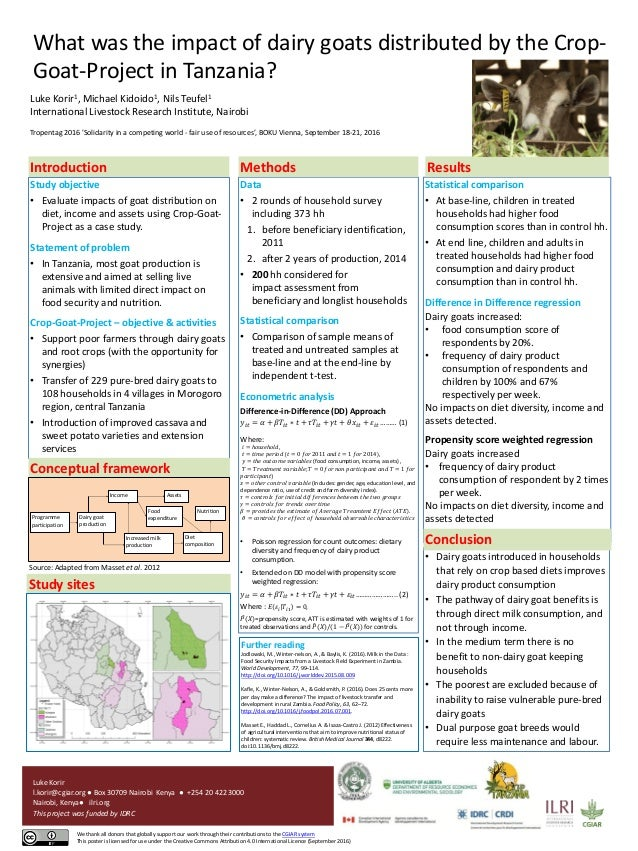 What was the impact of dairy goats distributed by the Crop- Goat-Project in Tanzania? Luke Korir1, Michael Kidoido1, Nils ...