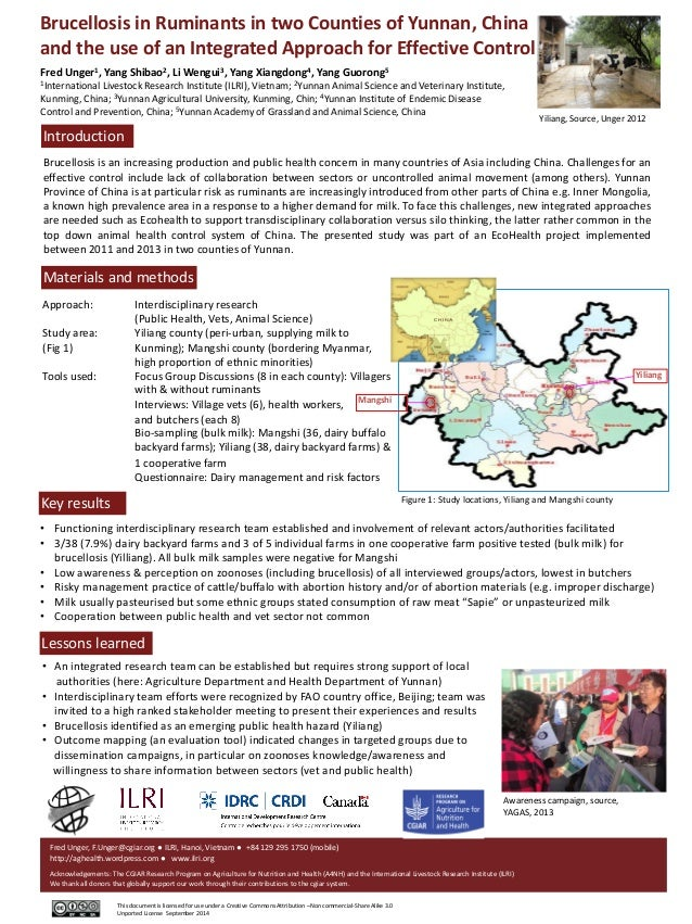 Brucellosis in Ruminants in two Counties of Yunnan, China and the use of an Integrated Approach for Effective Control Fred...