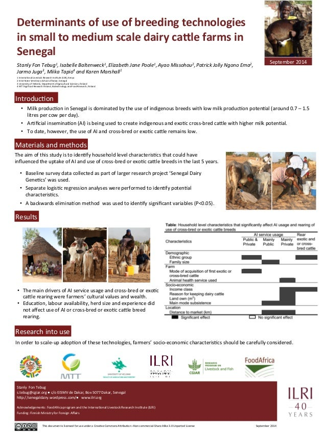 Determinants  of  use  of  breeding  technologies  in  small  to  medium  scale  dairy  ca5le  farms  in  Senegal  Stanly ...