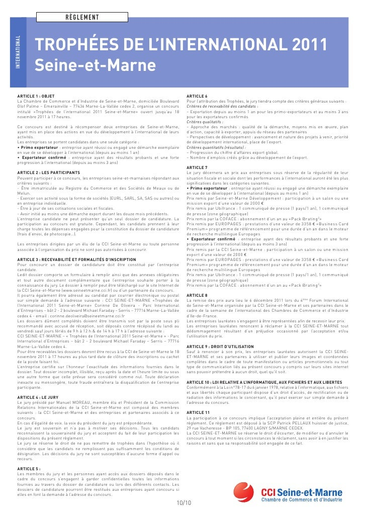 Trophees de l 39 international de seine et marne dossier de - Chambre de commerce et d industrie de seine et marne ...