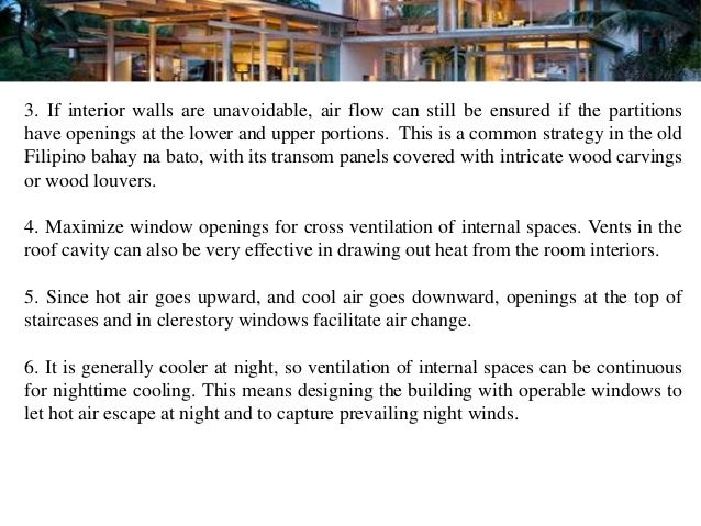 3. If interior walls are unavoidable, air flow can still be ensured if the partitionshave openings at the lower and upper ...