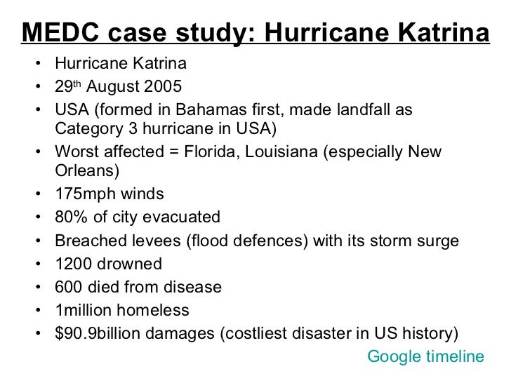 case study hurricane katrina An analysis of the delayed response to hurricane katrina through the lens of  knowledge management  well-structured disaster cases for example, with the .
