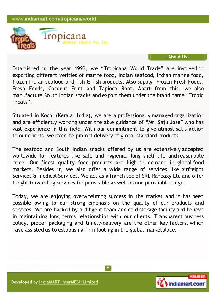Tropicana World Trade Private Limited, Kochi, Reef Cod