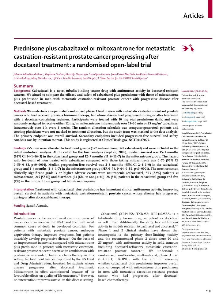 ArticlesPrednisone plus cabazitaxel or mitoxantrone for metastaticcastration-resistant prostate cancer progressing afterdo...