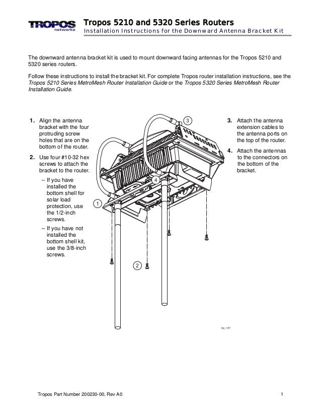 Tropos 5210 and 5320 Series Routers  Installation Instructions for the Downward Antenna Bracket Kit  The downward antenna ...