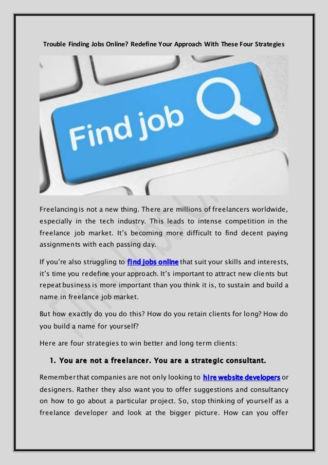 Trouble Finding Jobs Online? Redefine Your Approach With