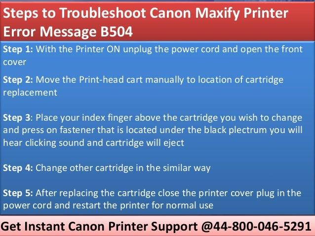 Troubleshoot canon maxify printer error message b504