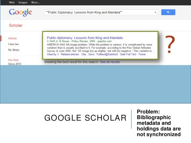 GOOGLE SCHOLAR Problem: Bibliographic metadata and holdings data are not synchronized ?