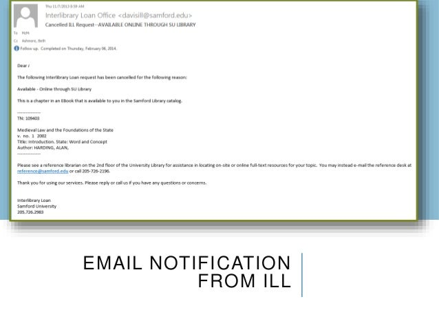 EMAIL NOTIFICATION FROM ILL