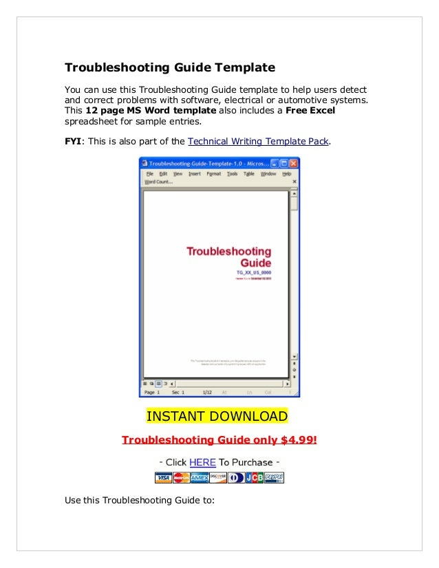 Troubleshooting Guide Template You can use this Troubleshooting Guide template to help users detect and correct problems w...