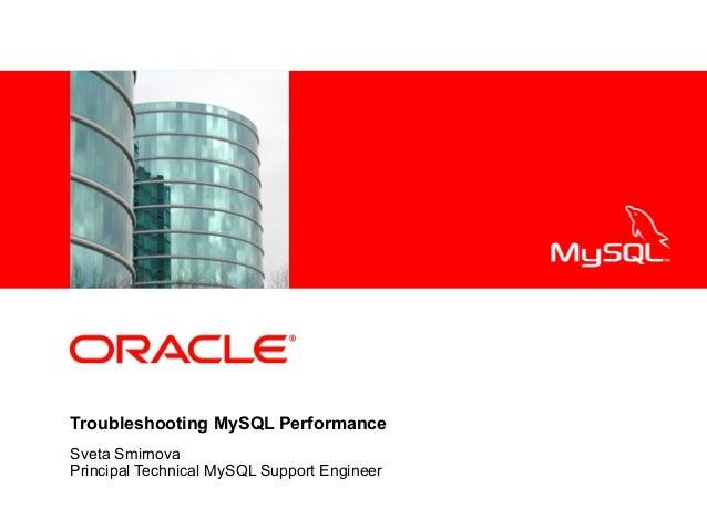 <Insert Picture Here>  Troubleshooting MySQL Performance Sveta Smirnova Principal Technical MySQL Support Engineer