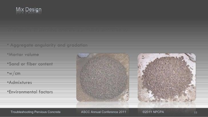 Pervious Concrete Mix Designs : Troubleshooting pervious concrete