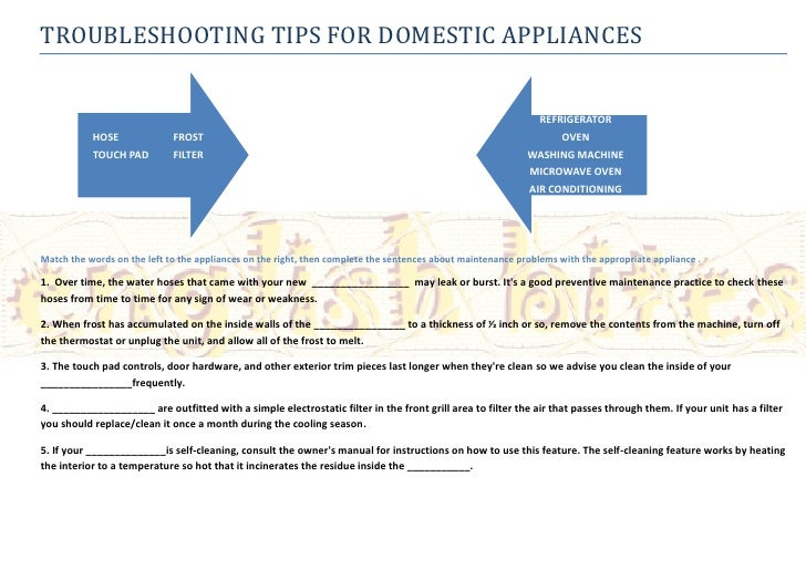 TROUBLESHOOTING TIPS FOR DOMESTIC APPLIANCES                                                                              ...