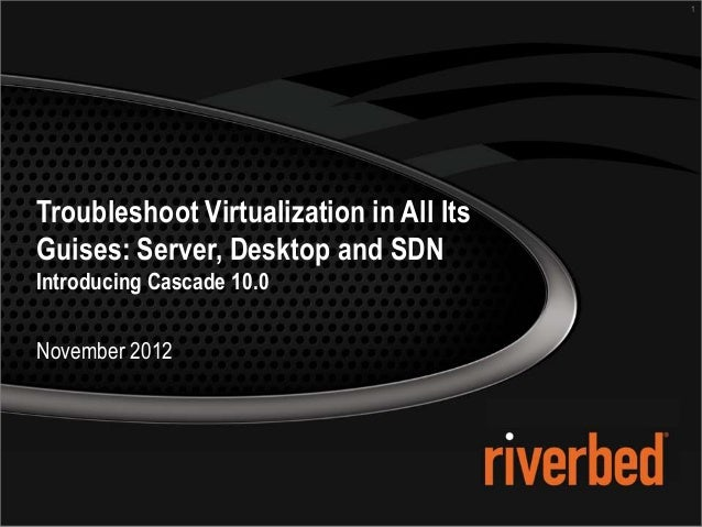 1Troubleshoot Virtualization in All ItsGuises: Server, Desktop and SDNIntroducing Cascade 10.0November 2012