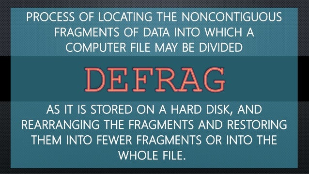 PROCESS OF LOCATING THE NONCONTIGUOUS FRAGMENTS OF DATA INTO WHICH A COMPUTER FILE MAY BE DIVIDED AS IT IS STORED ON A HAR...