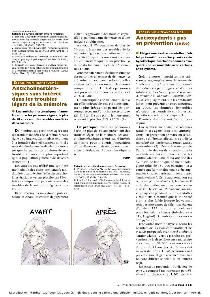 ESSAIS    NON TRANSFORMÉS  Extraits de la veille documentaire Prescrire.          étaient l'aggravation des troubles cogni...