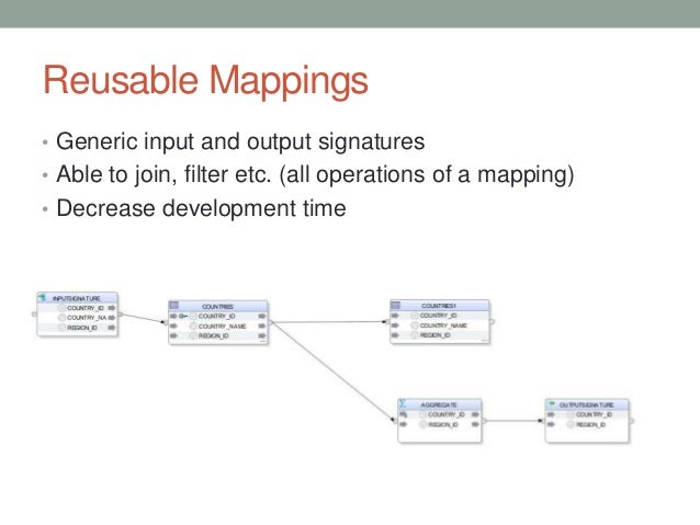 Reusable Mappings • Generic input and output signatures • Able to join, filter etc. (all operations of a mapping) • Decrea...