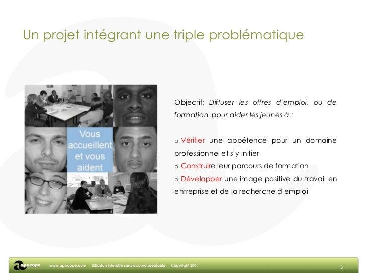 Un projet intégrant une triple problématique<br />3<br />Objectif: Diffuser les offres d'emploi, ou de formation  pour aid...