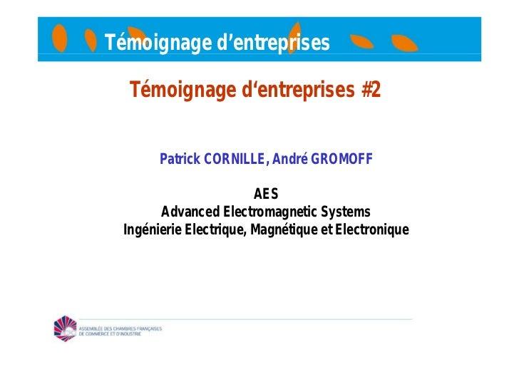 Témoignage d'entreprises  Témoignage d'entreprises #2       Patrick CORNILLE, André GROMOFF                        AES    ...