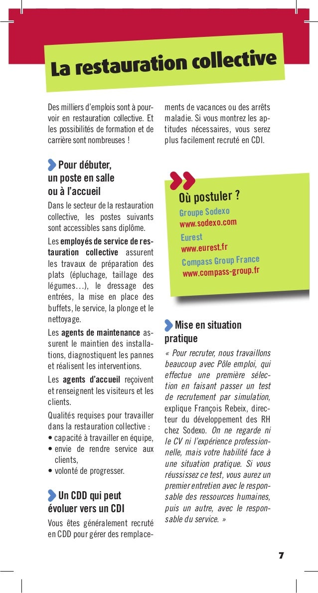 Trouver un emploi sans diplome hd corrjfp2septembre2013 v2 for Restauration collective emploi