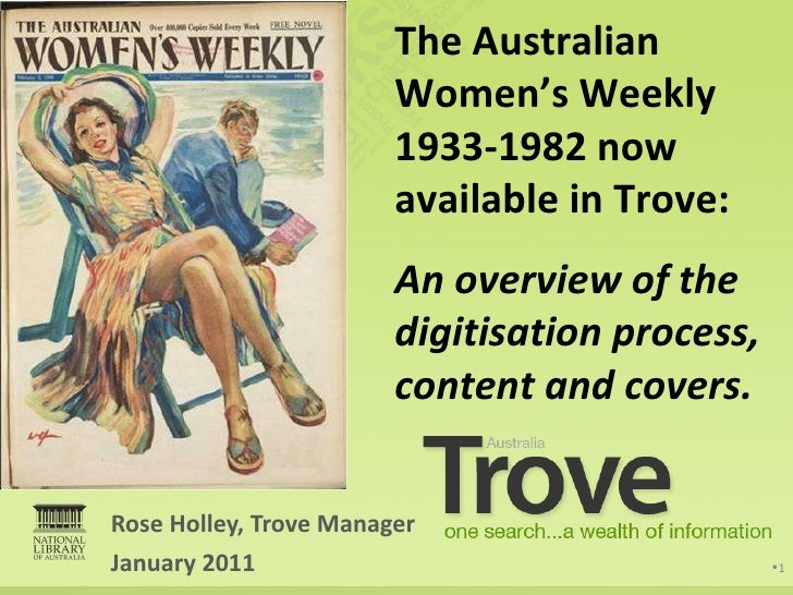 The Australian Women's Weekly now available in Trove: An overview of the digitisation process, content and covers January ...