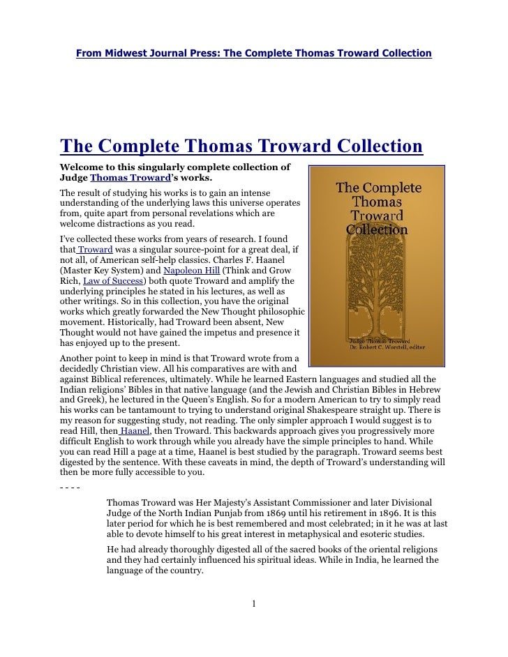 From Midwest Journal Press: The Complete Thomas Troward CollectionThe Complete Thomas Troward CollectionWelcome to this si...