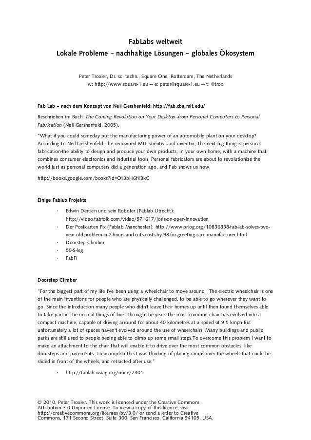 FabLabs weltweit Lokale Probleme – nachhaltige Lösungen – globales Ökosystem Peter Troxler, Dr. sc. techn., Square One, Ro...