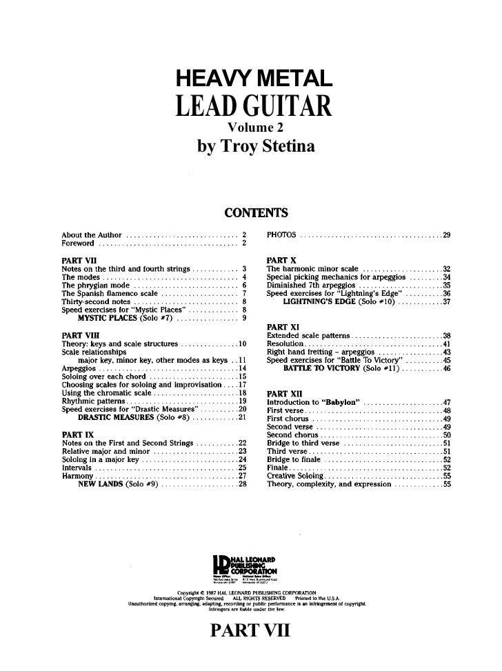 HEAVY METAL LEAD GUITAR     Volume 2  by Troy Stetina       PART VII