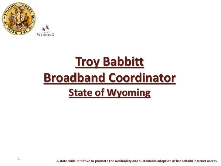 Troy Babbitt    Broadband Coordinator              State of Wyoming1      A state-wide initiative to promote the availabil...