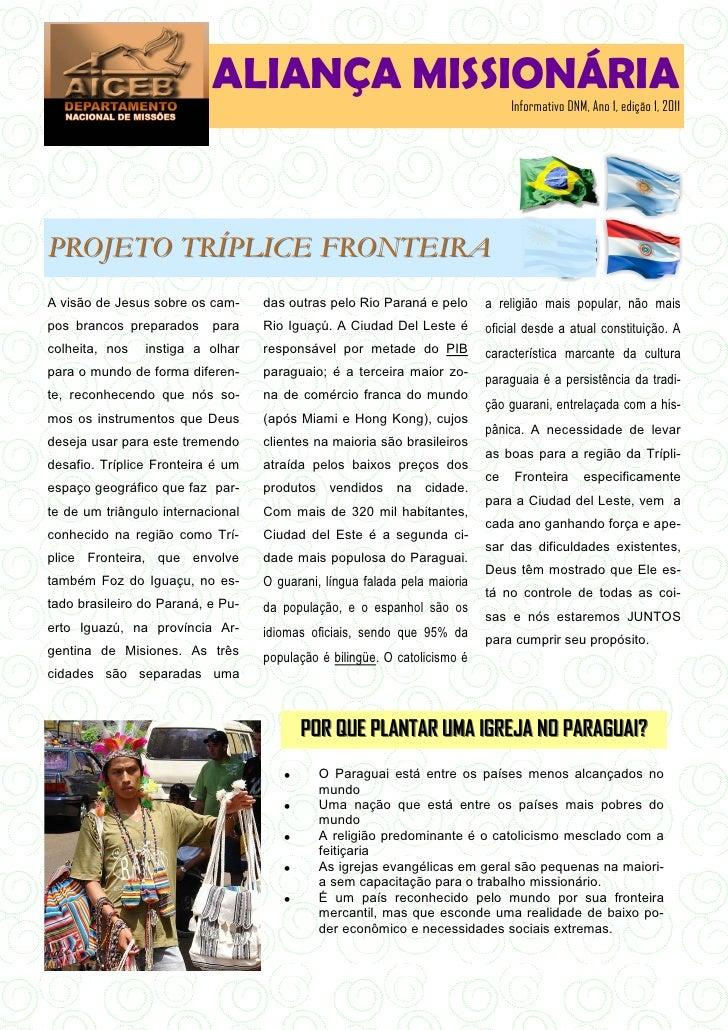 ALIANÇA MISSIONÁRIA                                                                                Informativo DNM, Ano 1,...