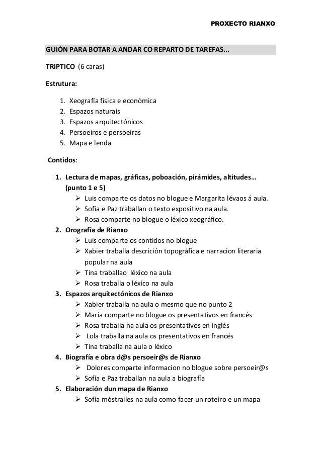 PROXECTO RIANXO GUIÓN PARA BOTAR A ANDAR CO REPARTO DE TAREFAS... TRIPTICO (6 caras) Estrutura: 1. Xeografía física e econ...