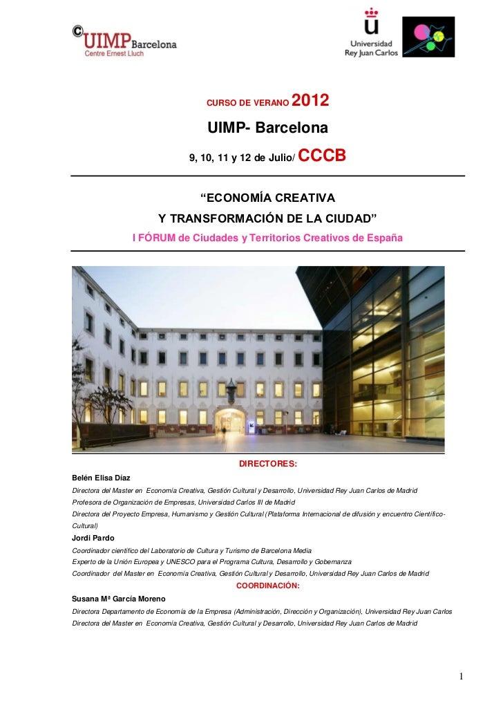 CURSO DE VERANO             2012                                            UIMP- Barcelona                               ...