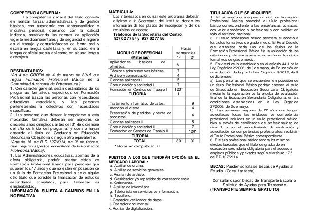 Tríptico Fp Básica Servicios Administrativos IES Turgalium Slide 2