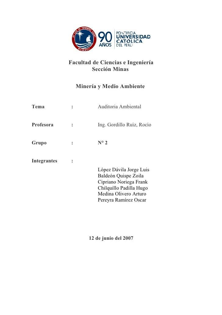 Facultad de Ciencias e Ingeniería                        Sección Minas                     Minería y Medio Ambiente   Tema...