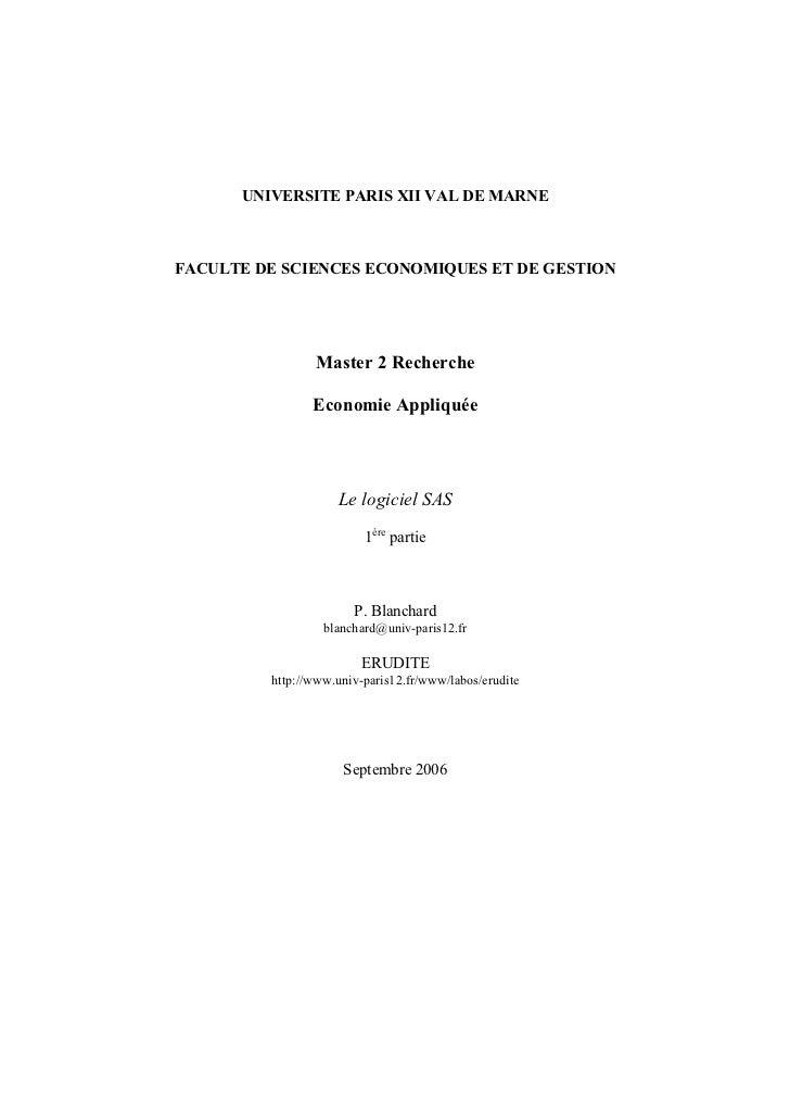 UNIVERSITE PARIS XII VAL DE MARNEFACULTE DE SCIENCES ECONOMIQUES ET DE GESTION                Master 2 Recherche          ...