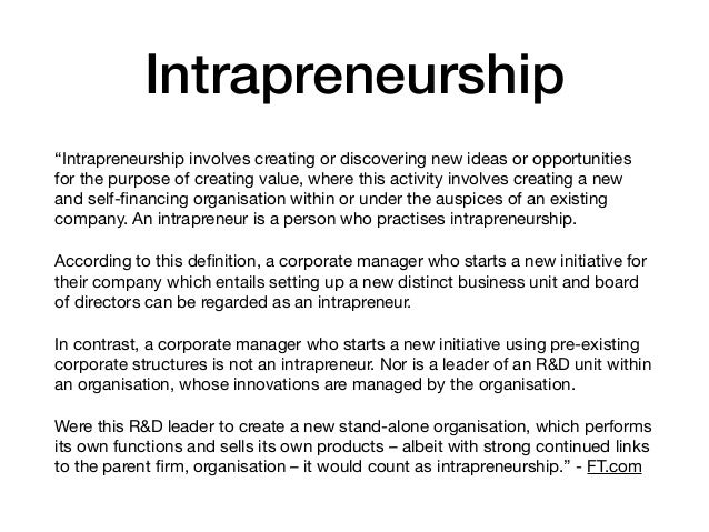 role of intrapreneur in an organisation