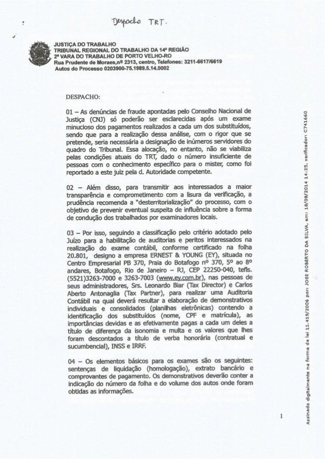 ?Wario TRT-          ,  , __ JUS11ÇA oo TRABALHO ~ . v  TRIBUNAL REGIONAL DO TRABALHO DA 14* REGIÃO r Í ii 2' VARA DO TRAB...